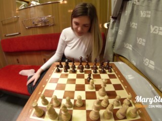 Sexy stranger girl was fucked in public train, after losing in chess