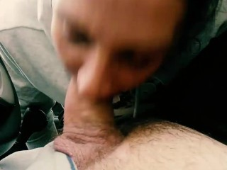 Slut sucks my cock in the car pulled over the main road and gets cum shotted
