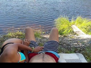 Real couple have risky outdoor sex next to a lake