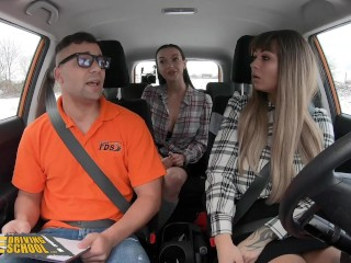 Fake Driving School Massive Tits Babes Dominno And Lady Gang Screw Instructor