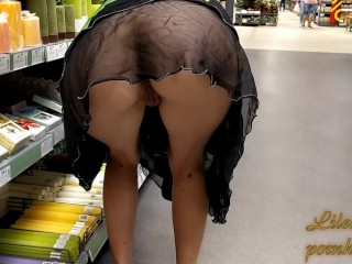 Wife risky flashing in public store, no panties, in mini dress and many witnesses